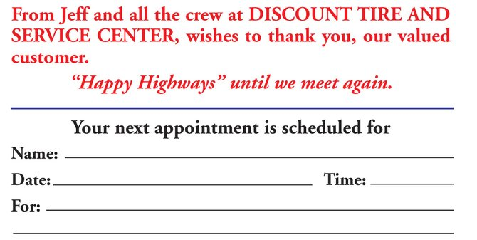2.  Appointment Cards